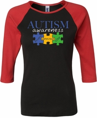 Autism Awareness Puzzle Pieces Ladies Raglan Shirt