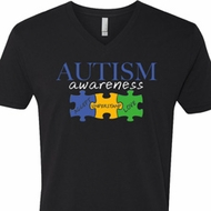 Autism Awareness Puzzle Pieces V-neck Shirt
