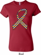 Autism Awareness Ribbon Ladies Crewneck Shirt