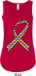Autism Awareness Ribbon Ladies Flowy V-neck Tank Top