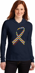 Autism Awareness Ribbon Ladies Hooded Shirt