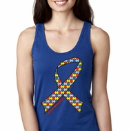 Autism Awareness Ribbon Ladies Ideal Tank Top