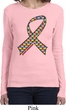 Autism Awareness Ribbon Ladies Long Sleeve Shirt