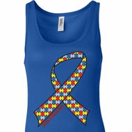 Autism Awareness Ribbon Ladies Longer Length Tank Top