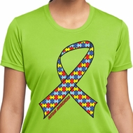 Autism Awareness Ribbon Ladies Moisture Wicking Shirt