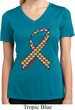 Autism Awareness Ribbon Ladies Moisture Wicking V-neck Shirt