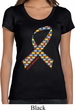 Autism Awareness Ribbon Ladies Scoop Neck Shirt