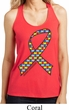 Autism Awareness Ribbon Ladies Shimmer Loop Back Tank Top