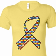Autism Awareness Ribbon Ladies Shirts