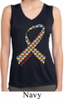 Autism Awareness Ribbon Ladies Sleeveless Moisture Wicking Shirt