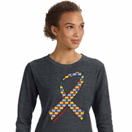 Autism Awareness Ribbon Ladies Sweatshirt