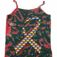 Autism Awareness Ribbon Ladies Tie Dye Camisole Tank Top