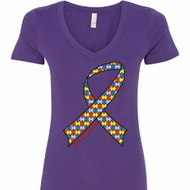 Autism Awareness Ribbon Ladies V-Neck