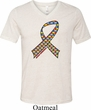 Autism Awareness Ribbon Mens Tri Blend V-neck Shirt