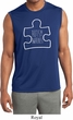 Autism Awareness White Puzzle Dry Wicking Muscle Shirt