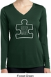 Autism Awareness White Puzzle Ladies Dry Wicking Long Sleeve