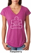 Autism Awareness White Puzzle Ladies Tri Blend V-neck