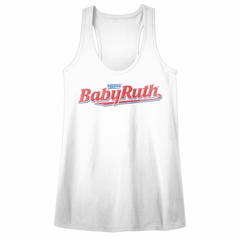 Baby Ruth Juniors Tank Top Logo White Racerback
