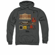 Back To The Future Hoodie Sweatshirt Items Charcoal Adult Hoody Sweat Shirt