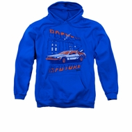 Back To The Future Hoodie Sweatshirt Lightning Strikes Royal Blue Adult Hoody Sweat Shirt