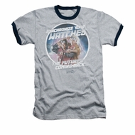 Back To The Future II Ringer Shirt Synchronize Watches Adult Heather/Navy Tee T-Shirt