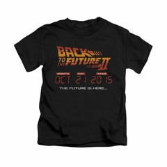 Back To The Future II Shirt Kids Future Is Here Black Youth Tee T-Shirt