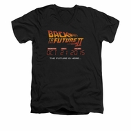 Back To The Future II Shirt Slim Fit V Neck Future Is Here Black Tee T-Shirt