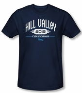 Back To The Future II Slim Fit T-shirt Hill Valley 2015 Navy Shirt