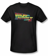 Back To The Future II Slim Fit T-shirt Logo Adult Black Tee Shirt