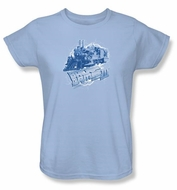 Back To The Future III Ladies T-shirt Movie Time Train Blue Tee Shirt