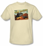 Back To The Future III T-shirt Hill Valley Postcard Adult Cream Shirt