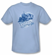 Back To The Future III T-shirt Time Train Adult Light Blue Tee Shirt