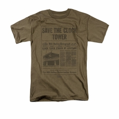 Back To The Future Shirt Clock Tower Adult Safari Green Tee T-Shirt