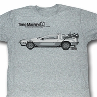 Back To The Future Shirt Delorean Adult Grey Heather Tee T-Shirt