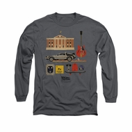 Back To The Future Shirt Items Long Sleeve Charcoal Tee T-Shirt