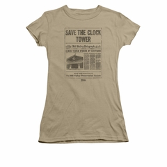 Back To The Future Shirt Juniors Clock Tower Safari Green Tee T-Shirt