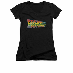 Back To The Future Shirt Juniors V Neck Logo Black Tee T-Shirt