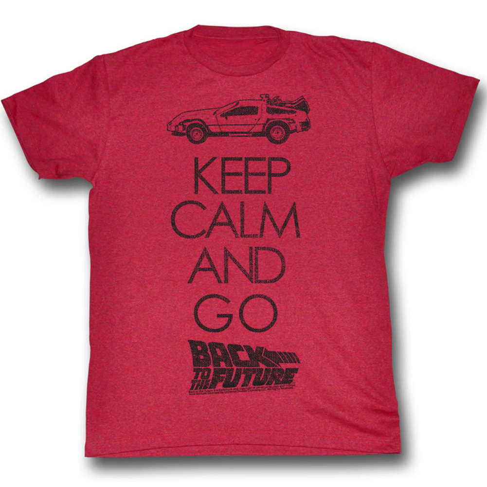 Back To The Future Shirt Keep Calm Adult Red Heather Tee T ...