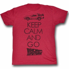 Back To The Future Shirt Keep Calm Adult Red Heather Tee T-Shirt