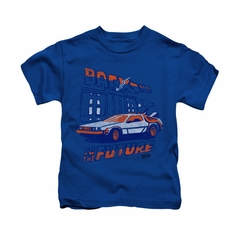 Back To The Future Shirt Kids Lightning Strikes Royal Blue Youth Tee T-Shirt