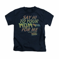 Back To The Future Shirt Kids Say Hi Navy Blue Youth Tee T-Shirt