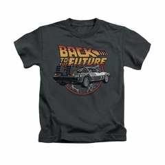 Back To The Future Shirt Kids Time Machine Charcoal Youth Tee T-Shirt