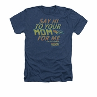 Back To The Future Shirt Say Hi Adult Heather Navy Blue Tee T-Shirt
