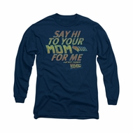Back To The Future Shirt Say Hi Long Sleeve Navy Blue Tee T-Shirt