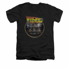 Back To The Future Shirt Slim Fit V Neck Back Black Tee T-Shirt