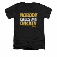 Back To The Future Shirt Slim Fit V Neck Chicken Black Tee T-Shirt