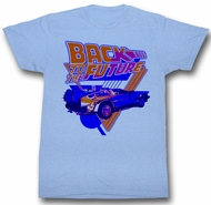 Back To The Future Shirt Blue DeLorean Adult Heather Blue Tee T-Shirt