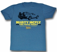 Back To The Future Shirt Time In A Car Adult Blue Tee T-Shirt