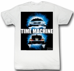 Back To The Future Shirt Time Travel Adult White Tee T-Shirt