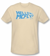 Back To The Future Slim Fit T-shirt Hello Mcfly Adult Cream Tee Shirt